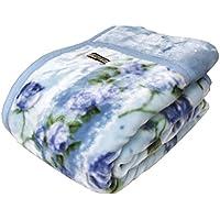 京都西川衿付き2枚合わせふっくら毛布(フローレン)シングルサイズ (ブルー)