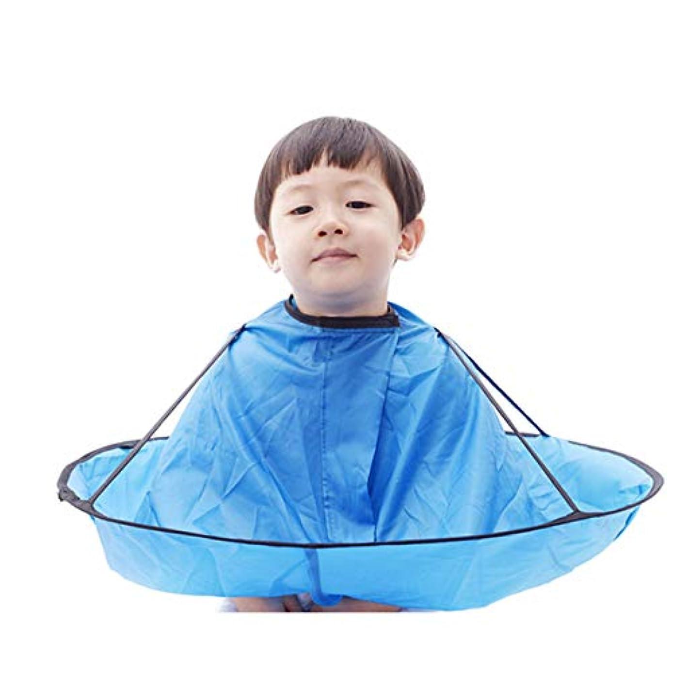 また滞在苗子供 散髪ケープ ヘアエプロン 散髪マント 刈布 ケープ 散髪道具 防水 (青)