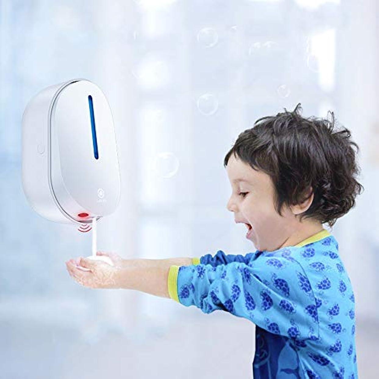 はがき量で経済ソープディスペンサー 容量500mlプレミアムタッチレスバッテリーは自動ソープディスペンサー調整可能ソープディスペンシングボリュームコントロールダイヤル運営しました ハンドソープ 食器用洗剤 キッチン 洗面所などに適用...