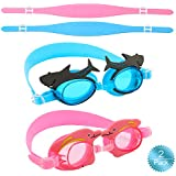 Oumers Kids Swim Goggles, Pack of 2, Swimming Glasses Anti-Fog No Leaking UV Protection Lenses and Shatter-Proof, Perfect for Children and Early Teens from 3 to 10 Years Old, Free Head Strap