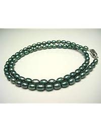 イソワパール 淡水真珠 ネックレス 4.0-4.5mm ブルーグリーン マグネット クラスップ 65372