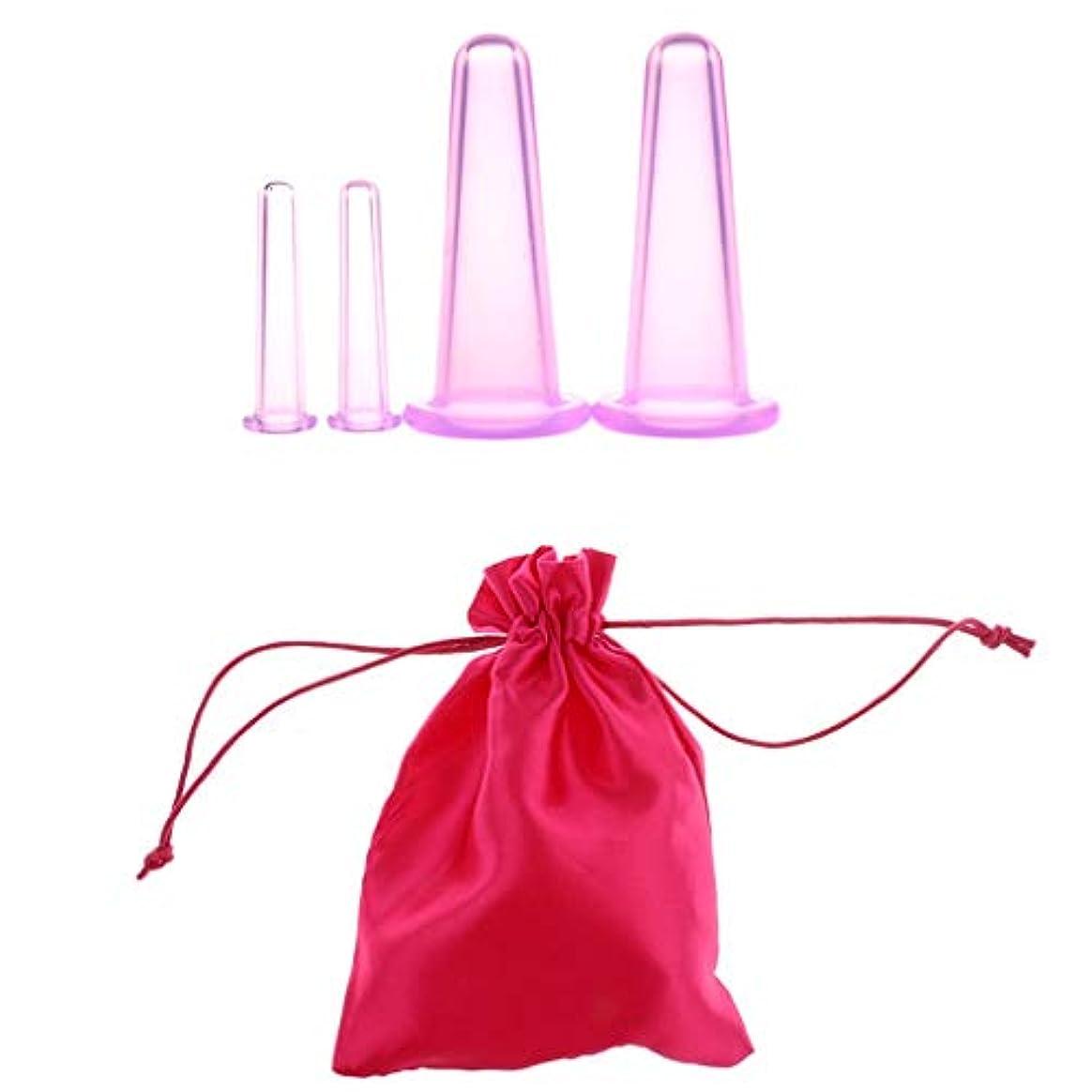 後方娘メタルライン4 Pieces Silicone Body Facial Cupping Set Anti Cellulite Massage Vacuum Cups suit for Lifting Massage Face Eye...