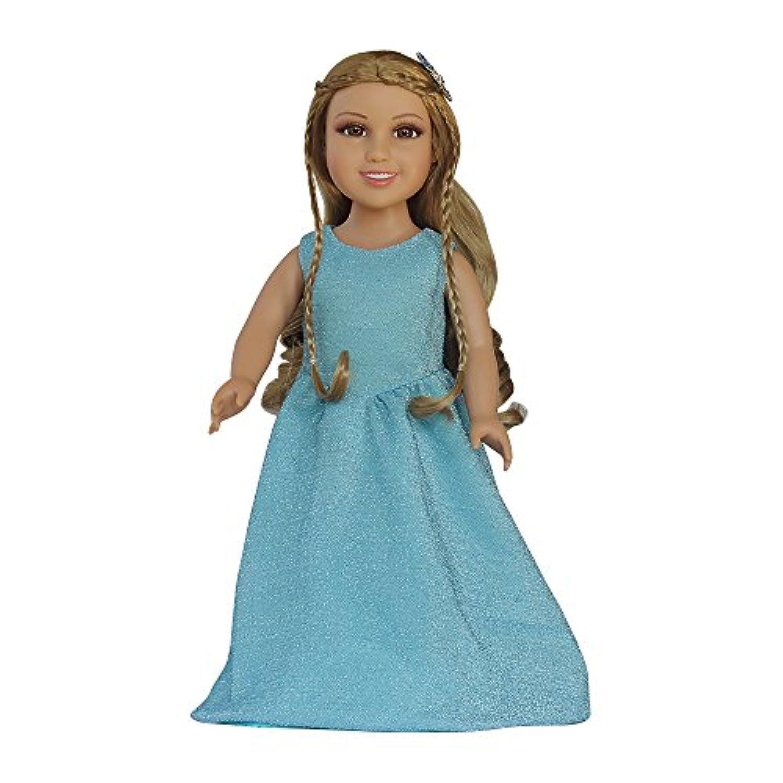 人形ドレスfor 18インチビニール人形Frozen、American Girl Queenパーティードレスブルー、Shiny服ノースリーブ