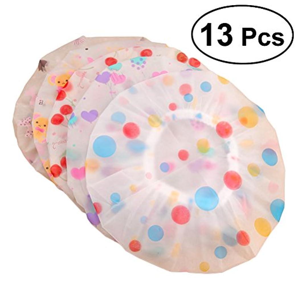 通知瞑想する隙間ROSENICE シャワーキャップ13pcs弾性防水プラスチック製の入浴用サロンヘアキャップレディサロンハット(示されているように)
