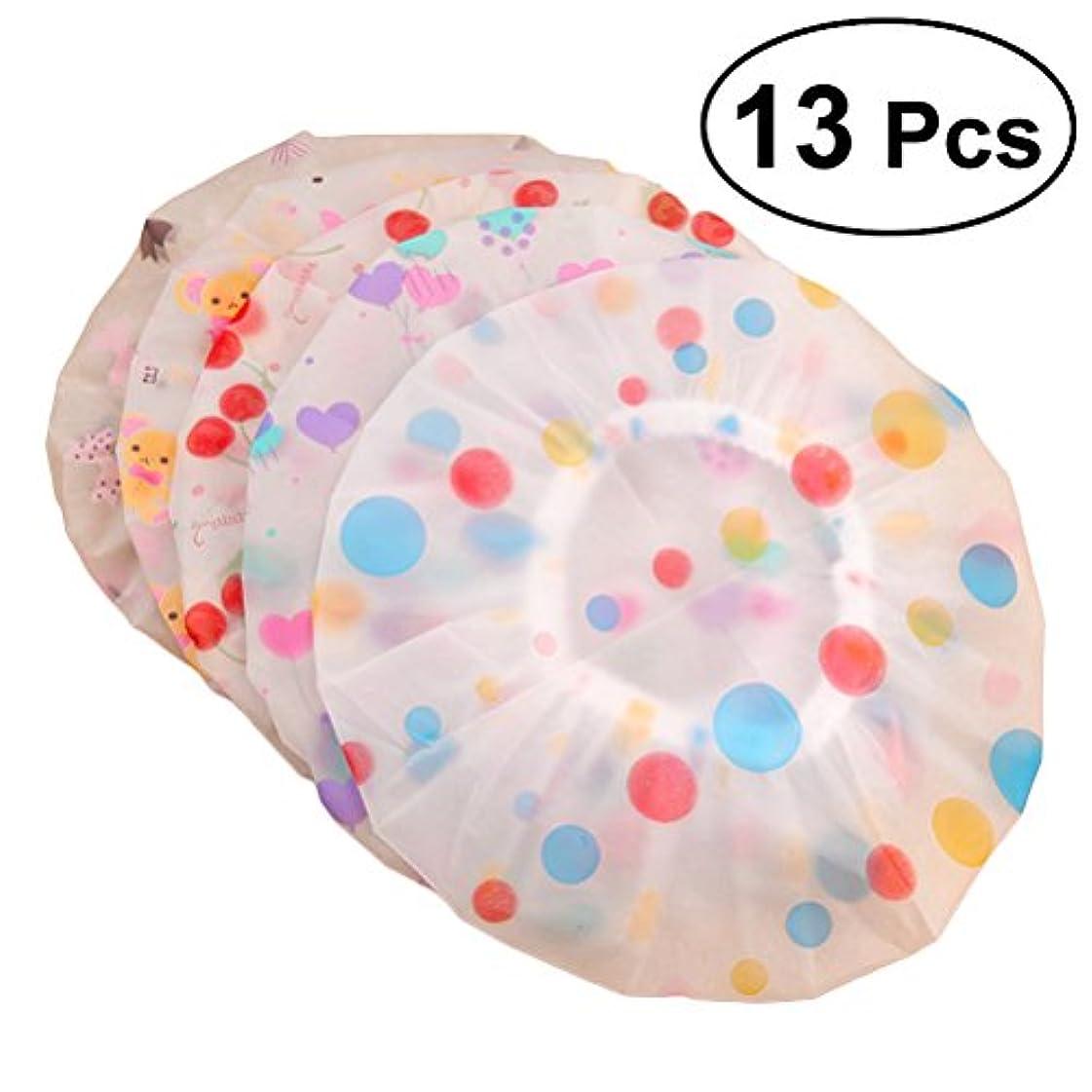 床言及する筋肉のROSENICE シャワーキャップ13pcs弾性防水プラスチック製の入浴用サロンヘアキャップレディサロンハット(示されているように)