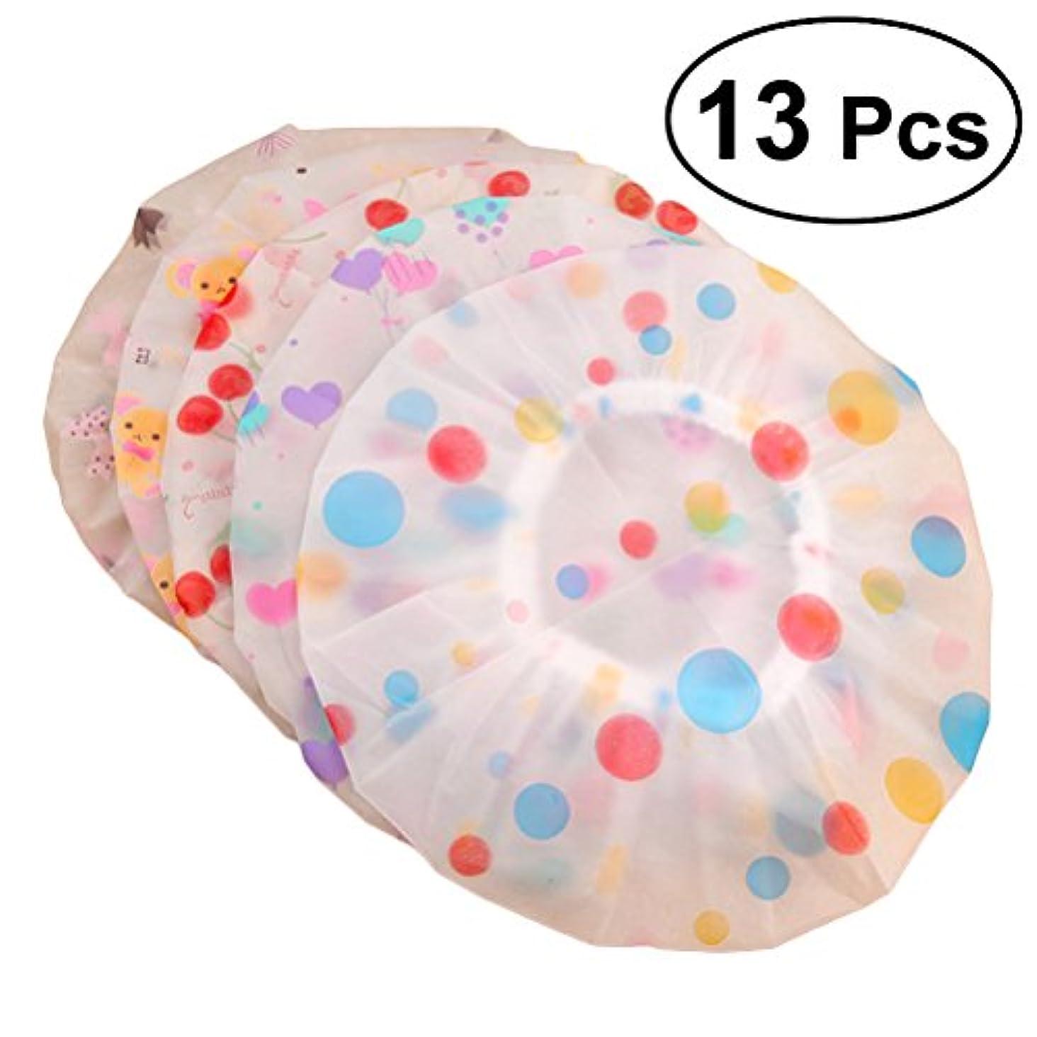 ラウンジ赤ちゃん科学的ROSENICE シャワーキャップ13pcs弾性防水プラスチック製の入浴用サロンヘアキャップレディサロンハット(示されているように)