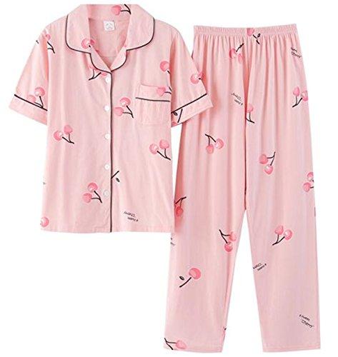 (チェリーレッド) CherryRed レディース パジャマ 綿 半袖 夏 秋 快適な睡眠を 上下 セット 寝間着 前開き シンプル 部屋着 さくらんぼ ピンク ルームウェア 冷房 さわやか XXXL