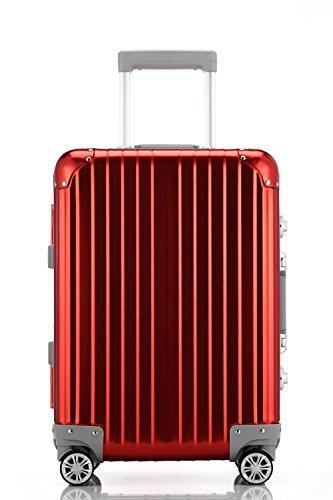 S型 アルミレッド/AL-0015 スーツケース アルミ合金 TSAロック搭載 Wキャスター 小型(1~3日用)