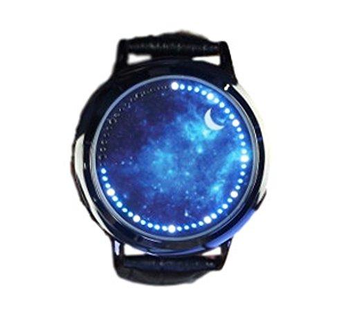 La bellezza(ラ・ベレッツァ) 近未来 腕時計 LED タッチパネル タッチスクリーン スマートウォッチ ユニセックス 男女兼用 生活防水 054f (ブラック, 星空)