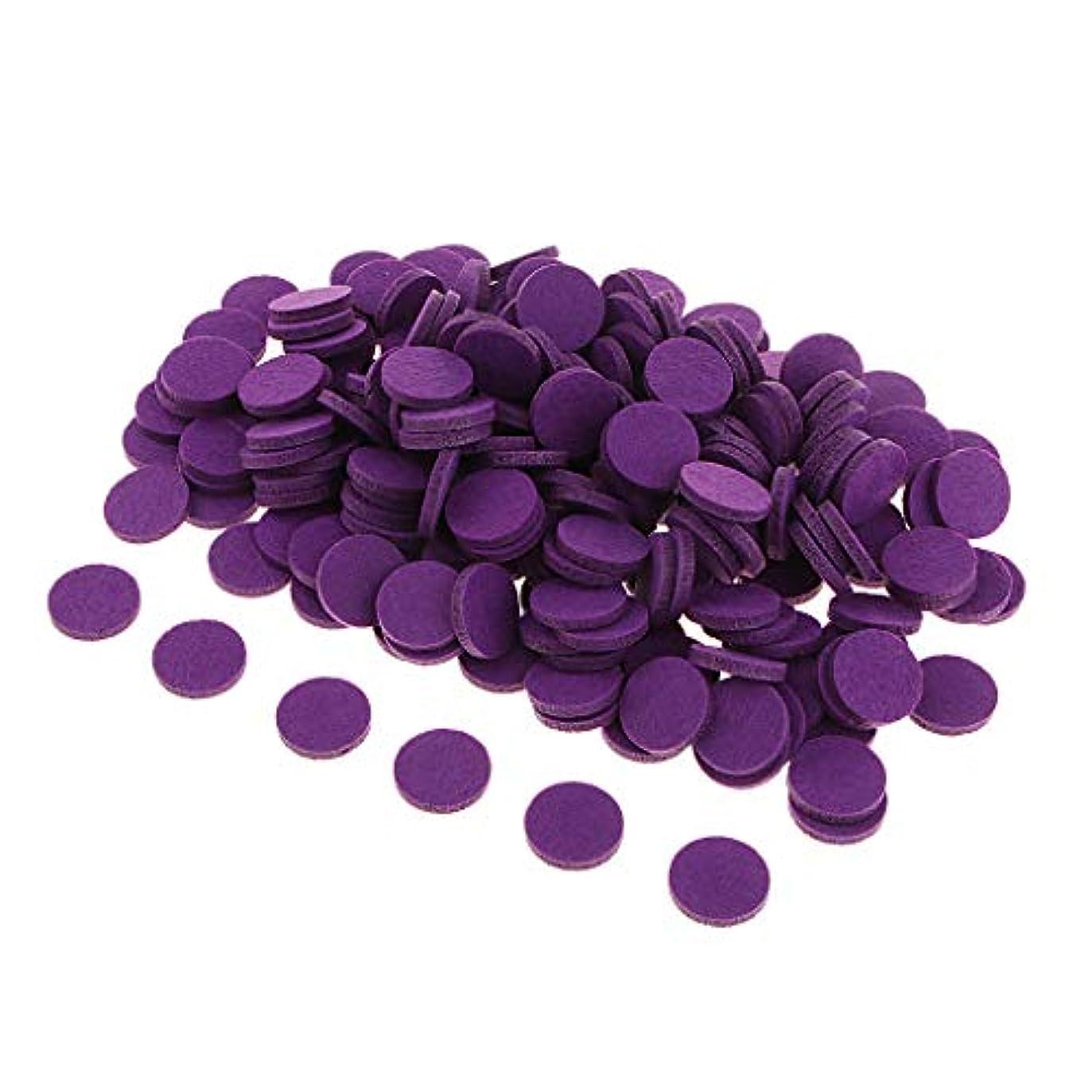高くムス作る200ピースアロマエッセンシャルオイルディフューザーロケットネックレス詰替フェルトパッド - 紫の