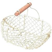 バスケット ワイヤー かご 小物入れ オーバル 収納 ホワイト W20×D14×H8(16)cm 80-60