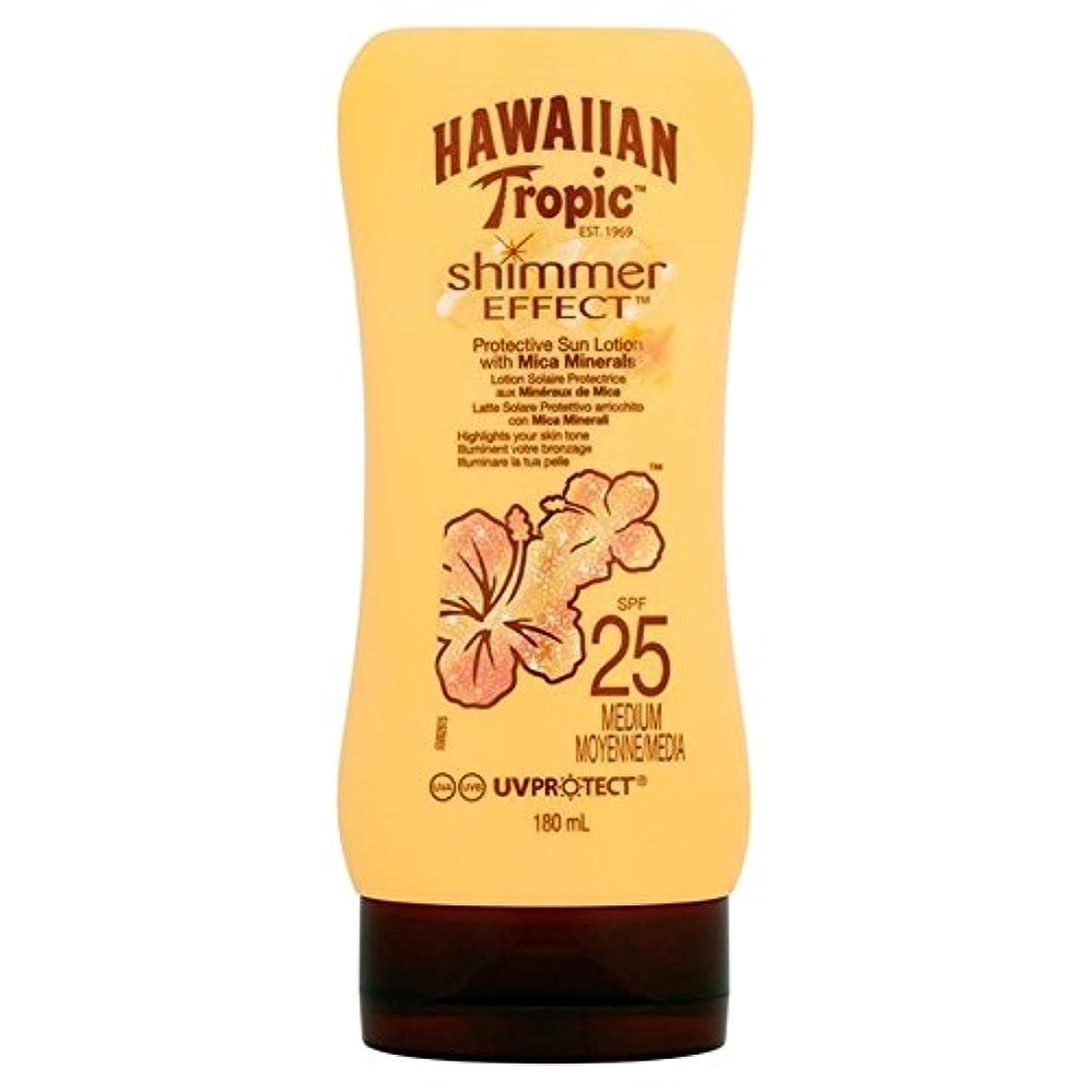 補助怖がって死ぬプラス南国ハワイシルクきらめき効果の日焼け止めクリーム 25 180ミリリットル x4 - Hawaiian Tropic Silk Shimmer Effect Sun Cream SPF 25 180ml (Pack of...