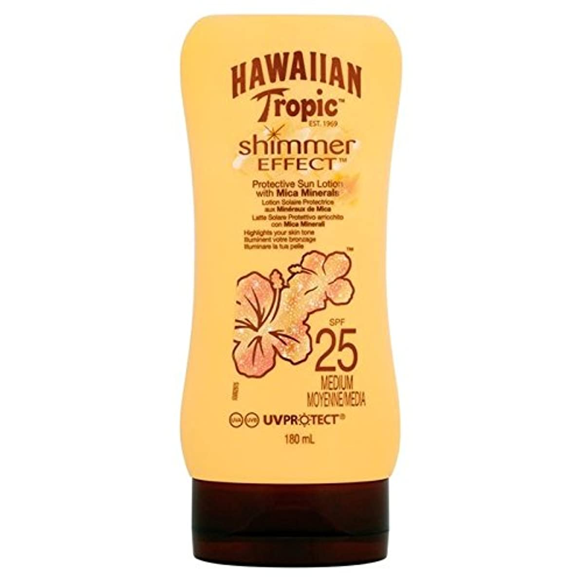 接地ドロー狂気南国ハワイシルクきらめき効果の日焼け止めクリーム 25 180ミリリットル x4 - Hawaiian Tropic Silk Shimmer Effect Sun Cream SPF 25 180ml (Pack of...