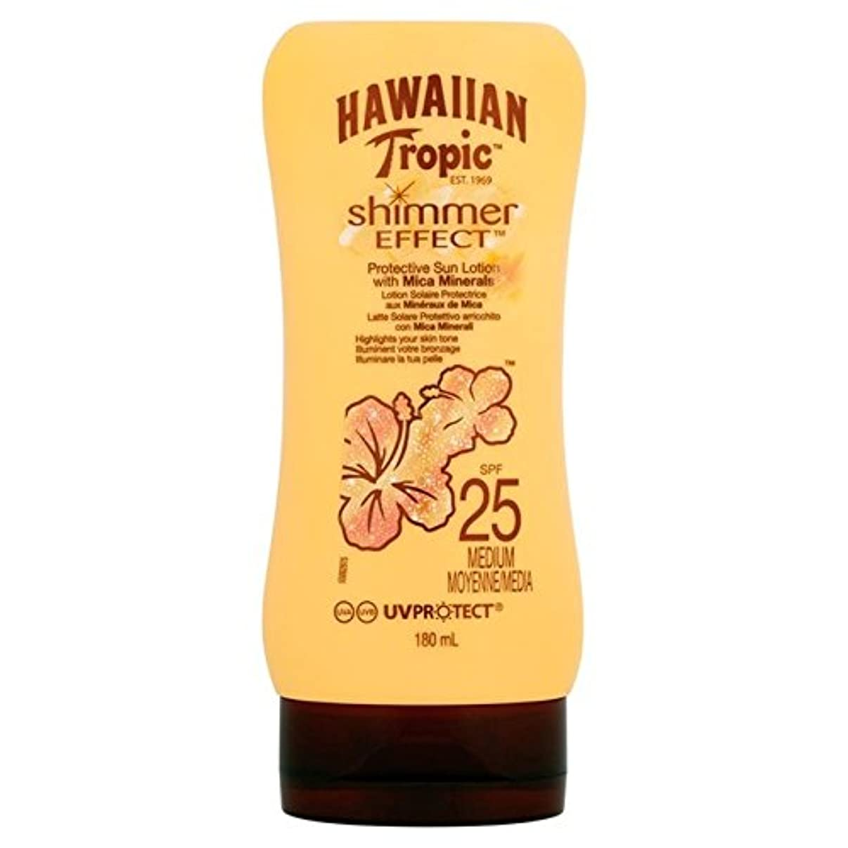 倫理的タンパク質見せます南国ハワイシルクきらめき効果の日焼け止めクリーム 25 180ミリリットル x2 - Hawaiian Tropic Silk Shimmer Effect Sun Cream SPF 25 180ml (Pack of...