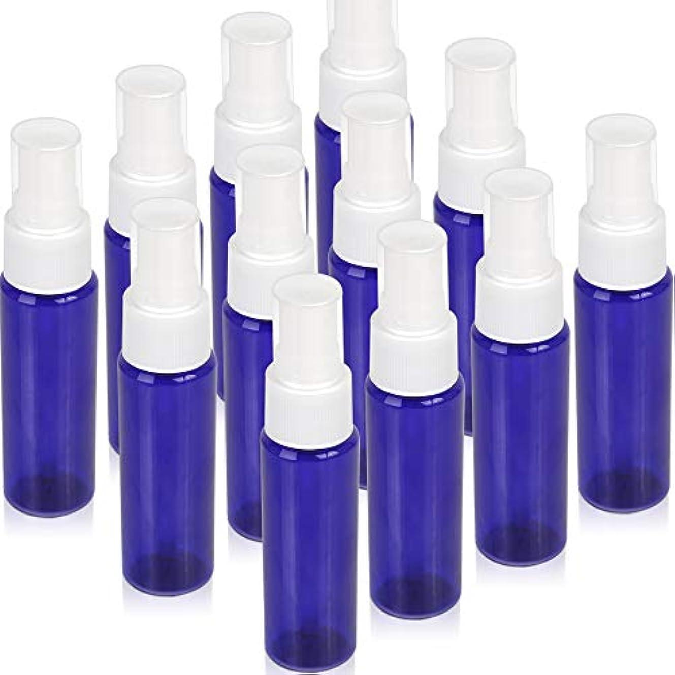 キャップ反逆極めてTeenitor スプレーボトル 30ml 12本 霧吹き アトマイザー スプレー容器 アロマスプレー 香水スプレー 詰め替え容器 キャップ付 青色 PET製