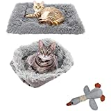 TOPSOSO Cat Bed Mats Dog Bed Self-Warming 2-in-1 Pet Beds for Medium Small Dogs Plush Fluffy Dog Bed Faux Fur Cat Cushion Bed