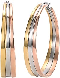 Jstyle Jewelry Surgical Stainless Steel Tri-Color Big Hoop Earrings for Women (50mm Diameter)