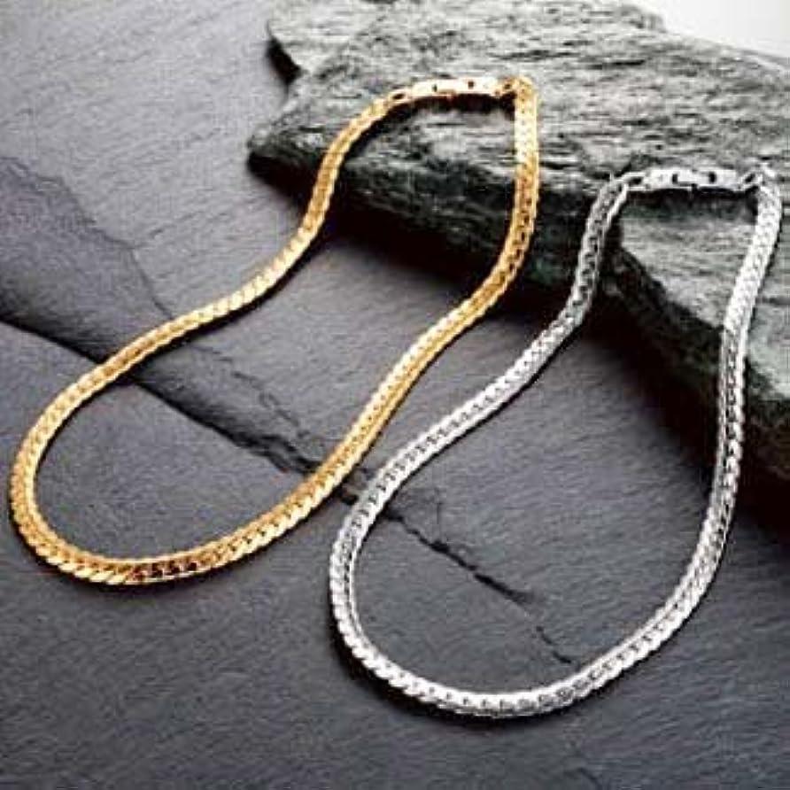 退却道気まぐれなペレバレンチノ極太ヘリンボーン磁気ネックレス (M, プラチナ)