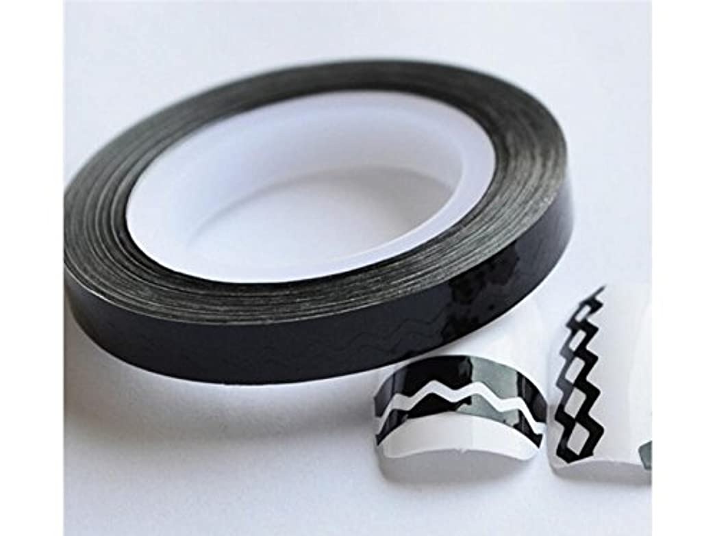 説得奪う書くOsize ファンシーストライプストライピングテープロールネイルアートエッジDIYデコレーションラインステッカー(ブラック)