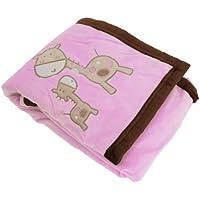 赤ちゃん?ベビー用 きりんのデザイン スーパーソフト ベビー毛布 ベビーブランケット (75cm x 96cm) (ピンク)