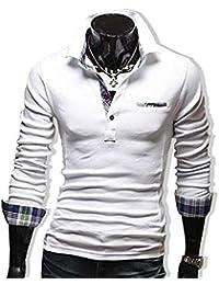 KMAZN メンズファッション ポロシャツ Tシャツ カットソー 無地 チェック カジュアルシャツ 長袖 プルオーバー