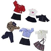 Lovoski 5セット 人形 ファッション 服装 ジーンズ  トップ スカート ドレス  シャツ 18インチアメリカンガールドール適用