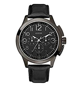 GUESS Men's W11585G1 Steel Black Leather Black Multifunction Dial Watch【並行輸入】