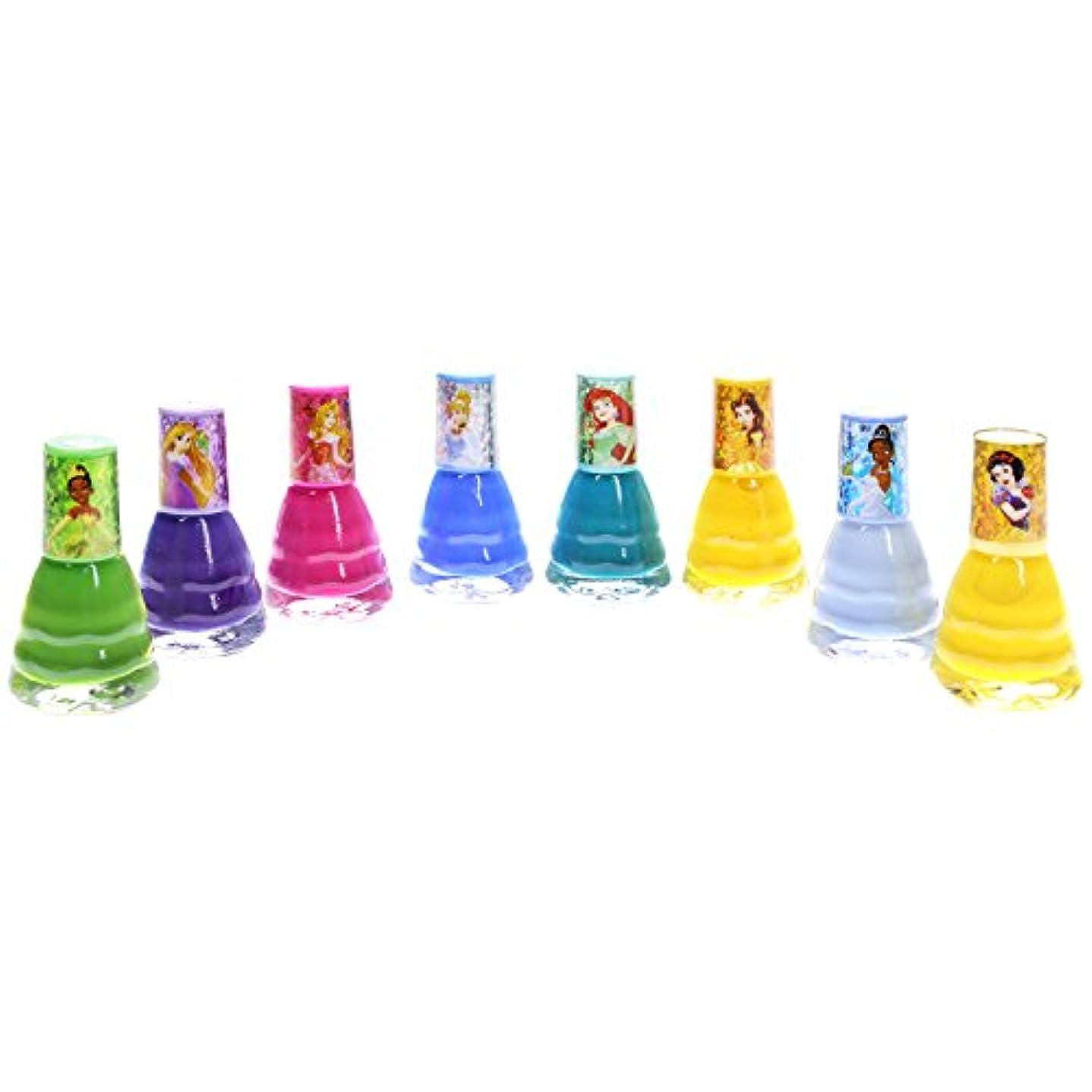 保有者背が高い収容する【Disney ディズニー】【PRINCESS プリンセス】キッズネイルセット 8ピース ドレス型 2.7ml×8個 子供用マニュキュア Nail Polish set