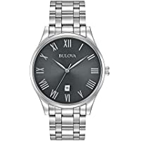 Bulova Men's Quartz Watch Metal Bracelet analog Display and Stainless Steel Strap, 96B261