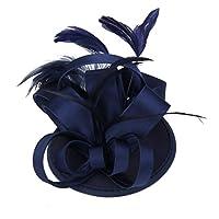 【ノーブランド 品】結婚式 パーティー サテン 羽 花嫁 魅惑的 ヘアクリップ 髪飾り コサージュ ダークブルー 全5色