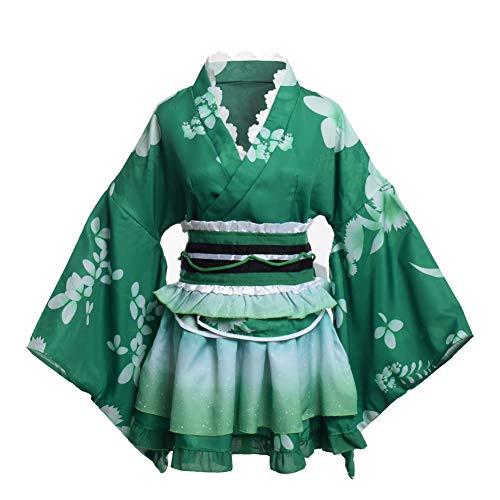 BLESSUME 和服 ミニ コスプレ 浴衣 上着 ショート かわいい 羽織 着物ドレス 花魁ドレス 夏祭り 花火大会 和服コスプレ コスチューム (緑)