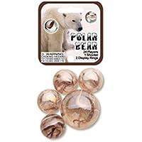 Mega Marble- 24 Collectible Marbles,1 Shooter, Net bag- Polar Bear