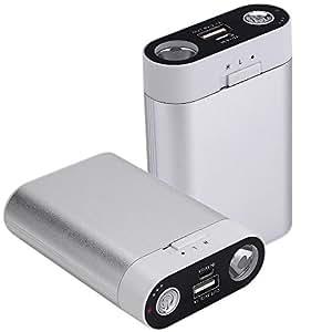 電気カイロ 充電式カイロ/パワー・バンク 7800mAhモバイル電源、充電可能なモバイル電源、7800mah コンパクトUSBカイロ/モバイル電源7800、iPhone 7/7 Plusに使用、LED懐中電灯、コンパクト電池充電器付き(シルバー)