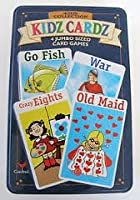 Kidsコレクション–Kidz Cardz : 4ジャンボサイズカードゲーム[ Go Fish、戦争、Crazy Eights & Old Maid ] * * Includes Collector 's Tinコンテナ* *