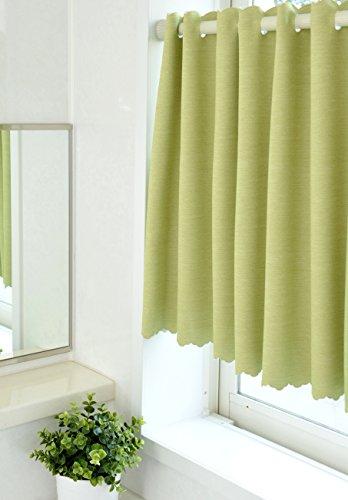 撥水・遮光カフェカーテン*パステル サイズ:巾135×丈60cm 1枚入(グリーン)