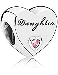PANDORA Charms Daughter Heart Charm with Pink Cubic Zirconia