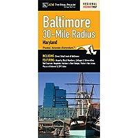 Baltimore 30マイル半径マップFoldマップ