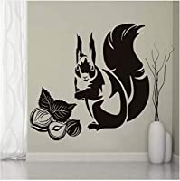 Jason Ming リス食べるナットウォールステッカーキッズルームキッチン装飾取り外し可能なPvc動物壁飾り防水アート壁画58×58センチ