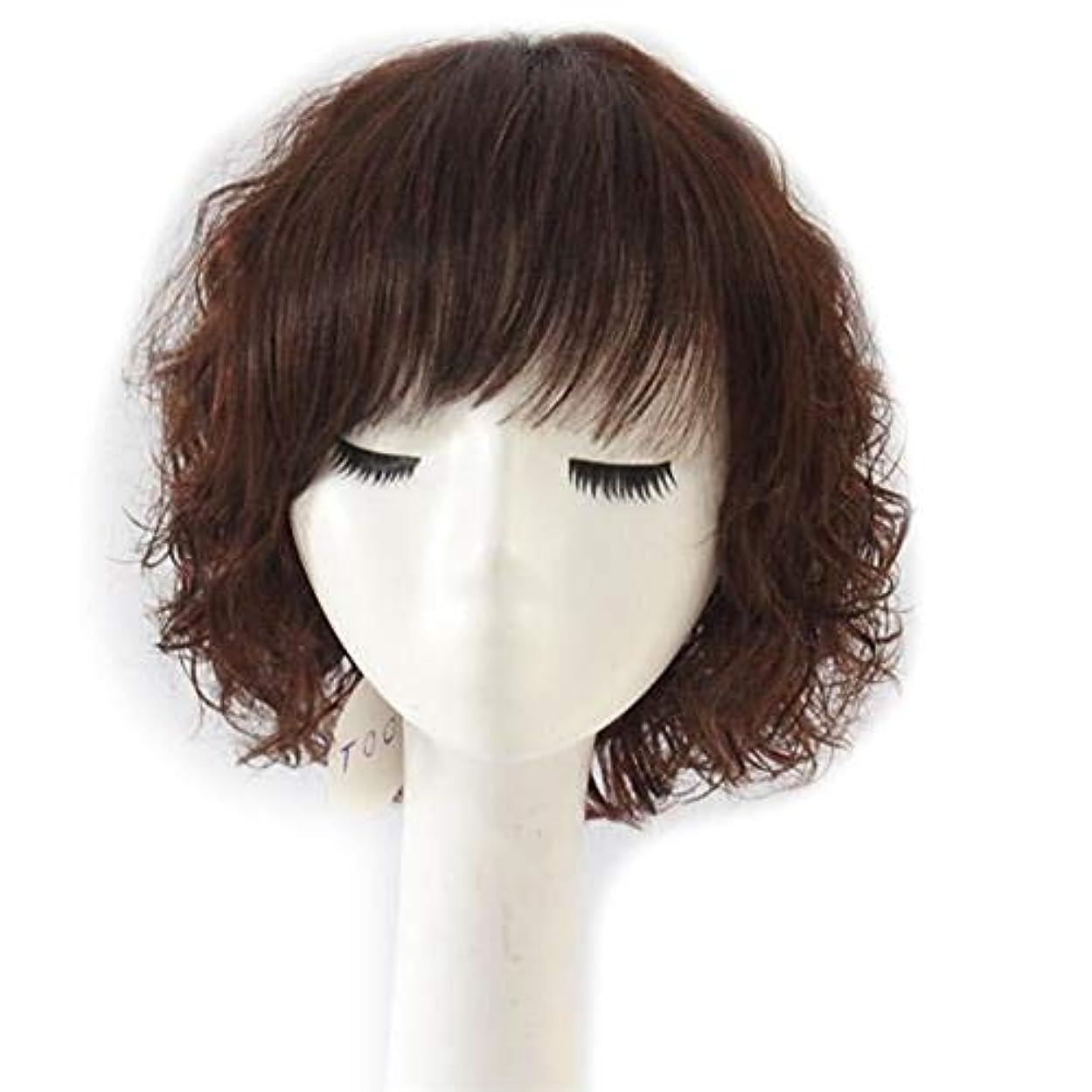 ポルティコ干ばつシーボードYOUQIU 母のギフトかつらのために女性のふわふわショートカーリーヘアのフル実ヘアウィッグファッションウィッグナチュラル (色 : Dark brown)