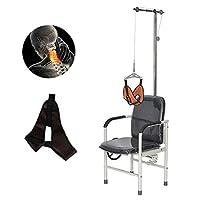 首牽引椅子、頸椎牽引装置ホームデバイス、牽引オーバーヘッドブレース理学療法用の脊椎疼痛緩和調整可能 - シンプルな操作