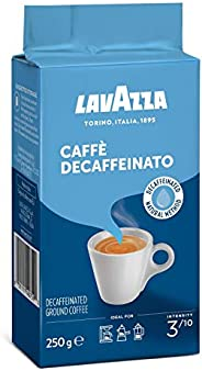 Lavazza Caffe Decaffeinated Ground Coffee, Arabica and Robusta Medium Roast, Pack of 250g