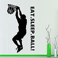 Lcymt 42×74センチバスケットボールダンクビニール壁デカールステッカーアートの装飾寝室デザイン食べる睡眠ボール壁画スポーツデカール用キッズルームDiy