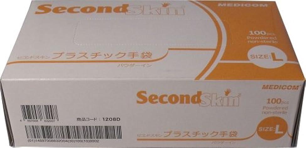 イヤホン式反対セコンドスキン プラスチック手袋 Lサイズ 100枚入(単品)