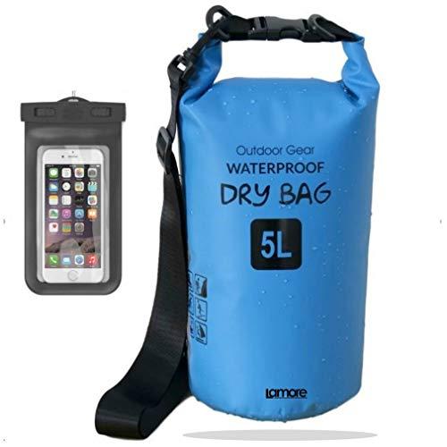 笑顔一番 新素材 防水バッグ ドライバッグ ドラム型 防水 ケース 付 5L 10L 20L 30L (7) ブルー, 25L