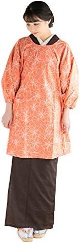 [ 京都きもの町 ] ロング丈 割烹着「オレンジピンク お花」