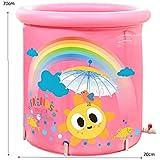 膨脹可能な浴槽の大人のポータブル、折る快適な浴槽の浴槽の大人の浴槽の膨脹可能な風呂、より厚いプラスチックバケツの浴槽 (Color : Pink2, Size : S)