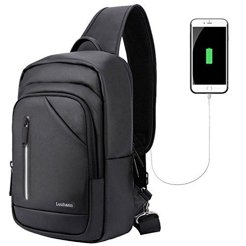ボディバッグ メンズ 防水ワンショルダーバッグ USBポートと安全反射ストリップ付き 9.7インチipad収納可な大容量スポーツバッグ アウトドア旅行用耐衝撃PCバッグ Luuhann (ブラック)