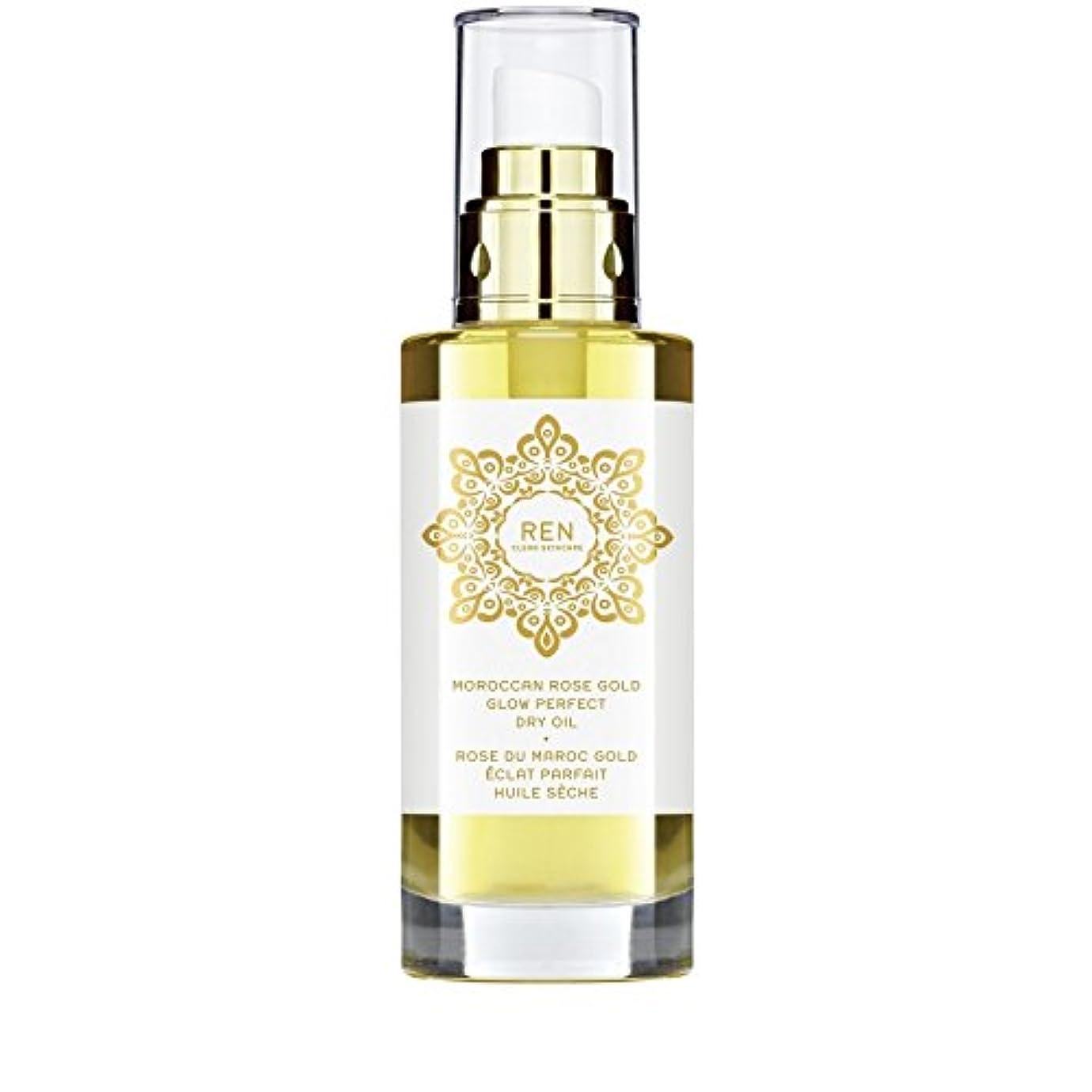 嫉妬世界に死んだウェイドREN Moroccan Rose Gold Glow Perfect Dry Oil 100ml - モロッコは金が完璧なドライオイル100ミリリットルグローバラ [並行輸入品]