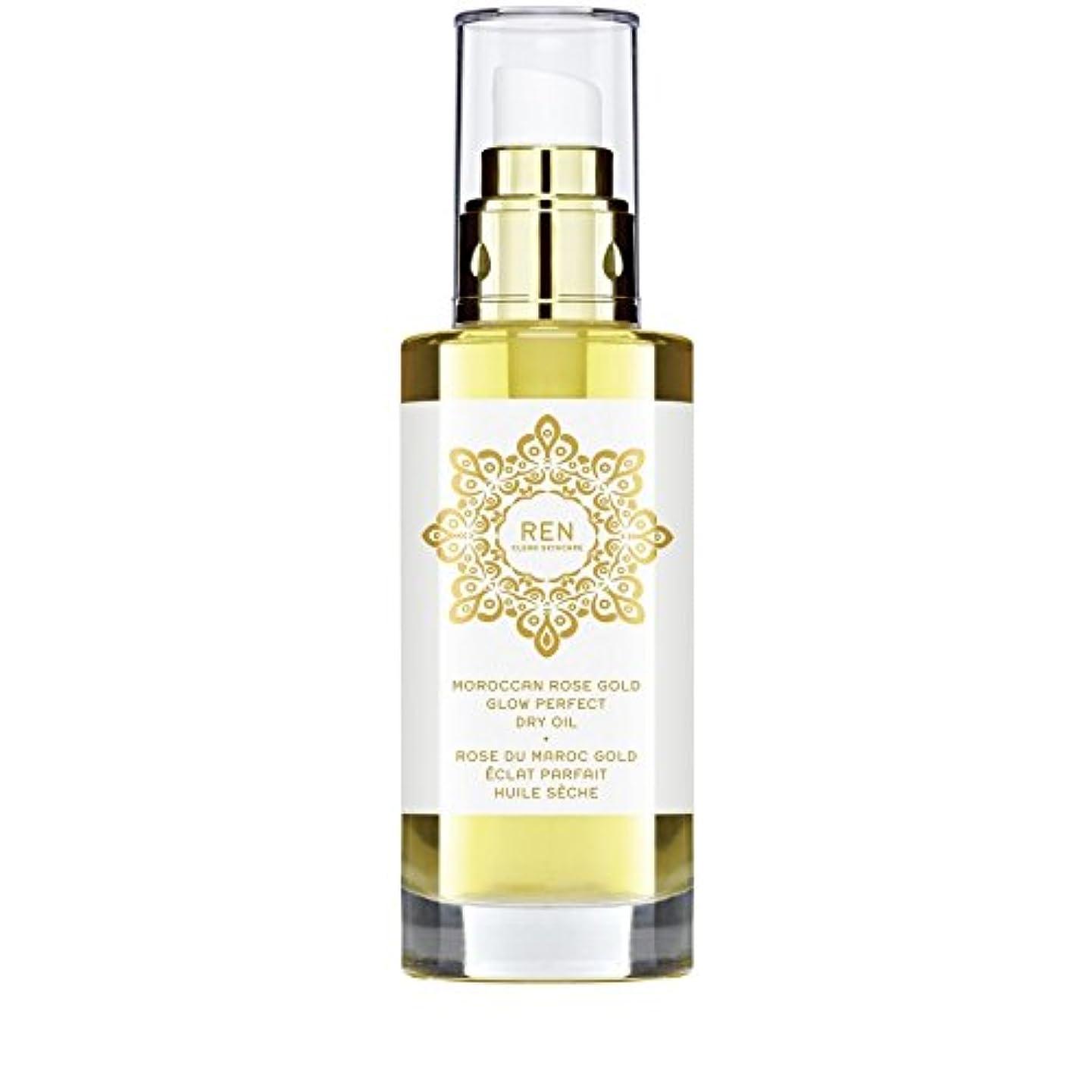 バリケード後退するツーリストREN Moroccan Rose Gold Glow Perfect Dry Oil 100ml (Pack of 6) - モロッコは金が完璧なドライオイル100ミリリットルグローバラ x6 [並行輸入品]