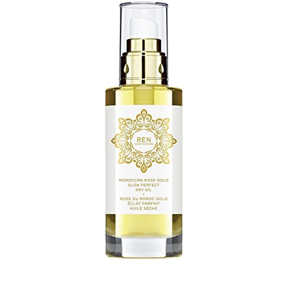 交換可能卒業記念アルバム鋭くモロッコは金が完璧なドライオイル100ミリリットルグローバラ x4 - REN Moroccan Rose Gold Glow Perfect Dry Oil 100ml (Pack of 4) [並行輸入品]